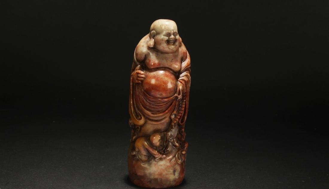 A Chinese Estate Soapstone Fortune Buddha Statue
