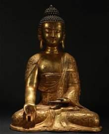An Estate Chinese Gilt Pondering-pose Buddha Statue