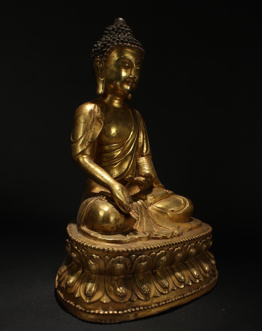 A Chinese Tall-base Loctus-seated Gilt Buddha Statue - 2