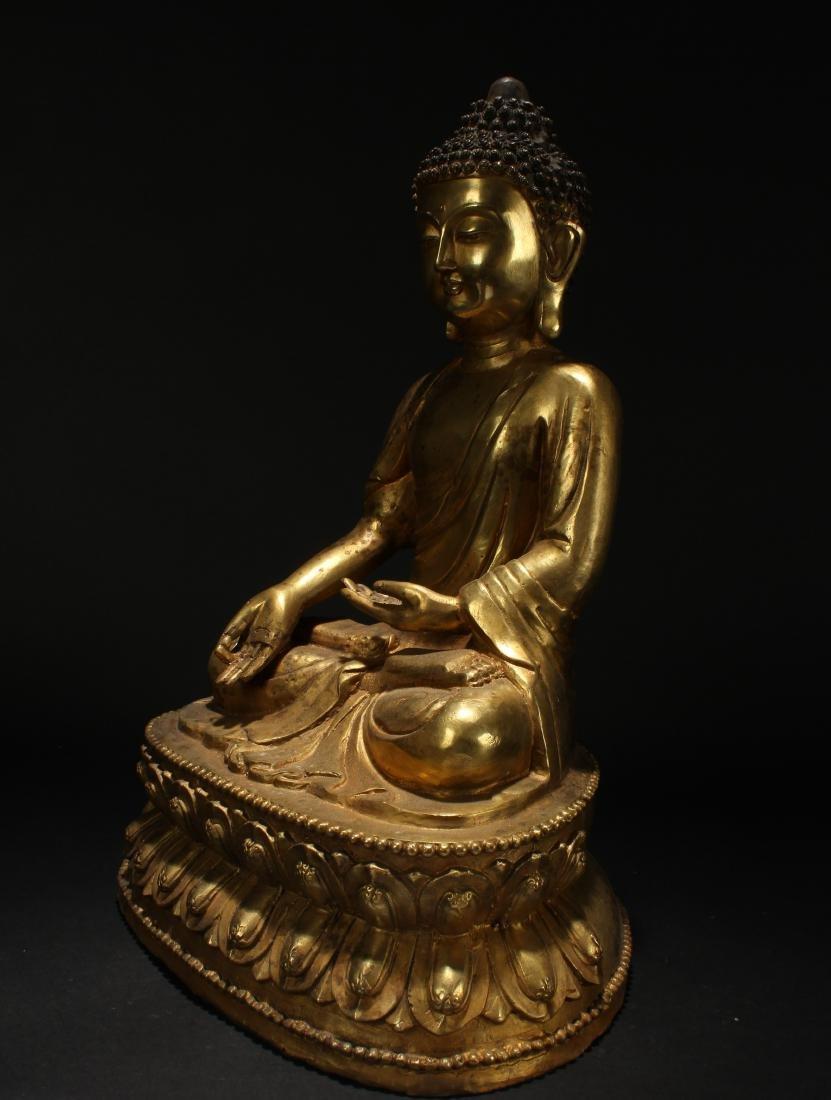 A Chinese Tall-base Loctus-seated Gilt Buddha Statue - 3