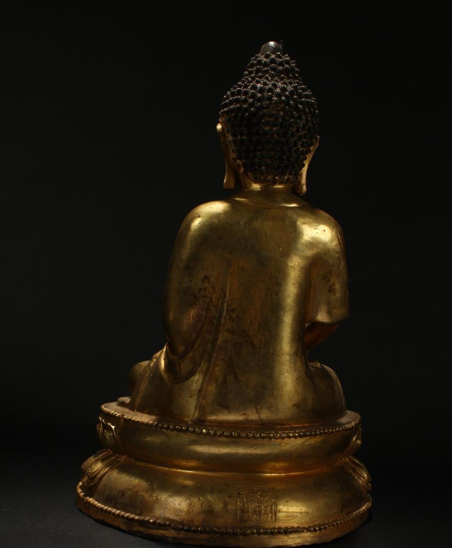 A Chinese Tall-base Loctus-seated Gilt Buddha Statue - 4
