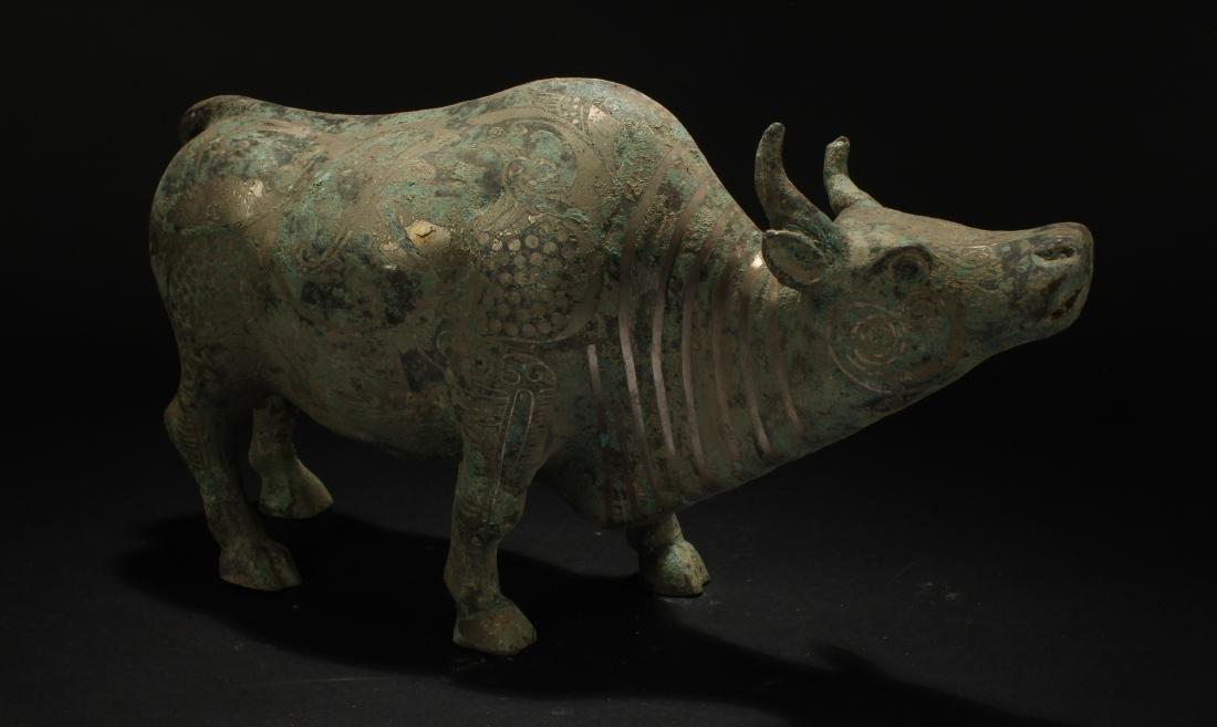 An Estate Chinese Myth-beast Bronze Vessel Statue - 4