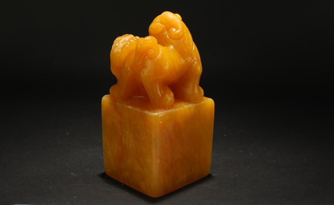 An Estate Chinese Soapstone Myth-beast Seal Display - 4