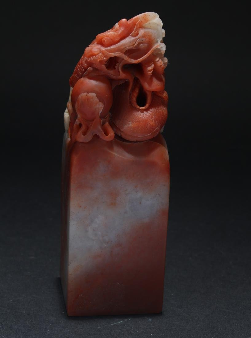 An Estate Chinese Soapstone Myth-beast Seal Display - 2