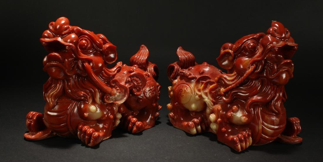 A Pair of Chinese Myth-beast Statue Display