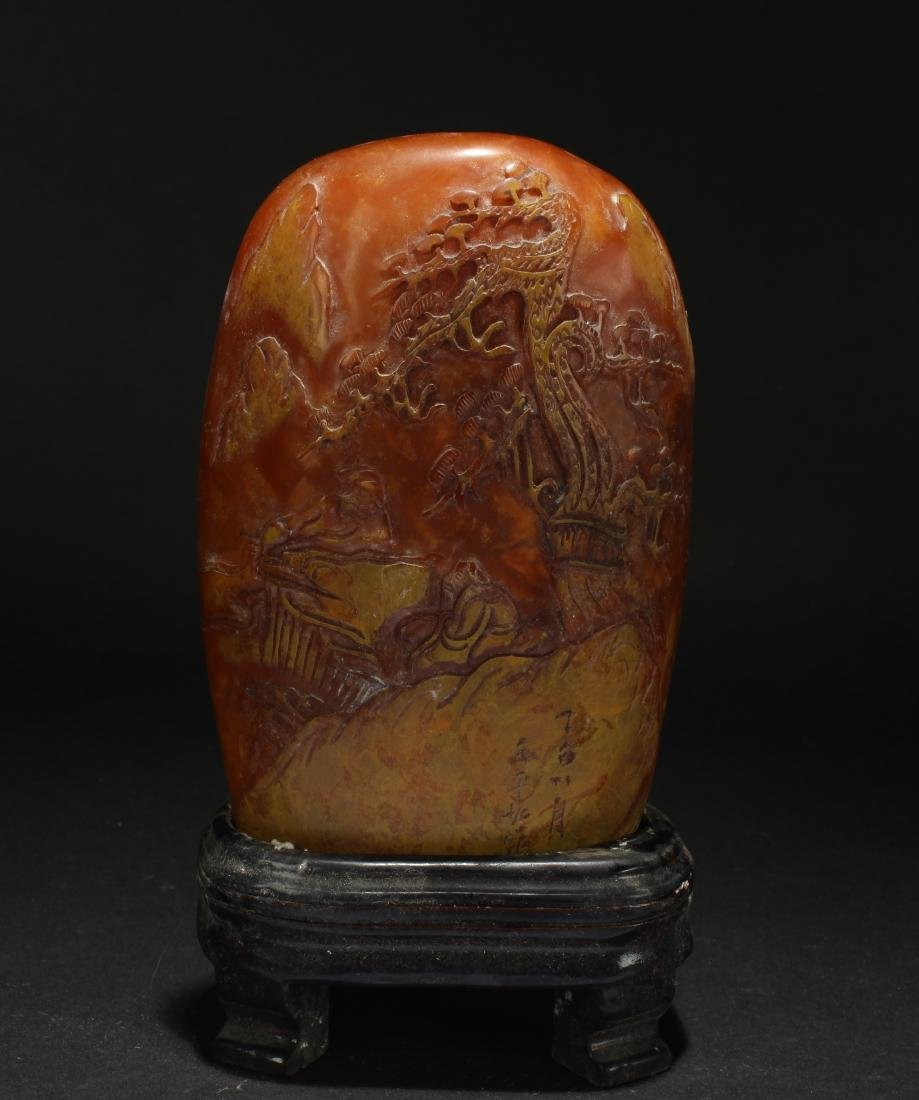 An Estate Chinese Mountain-view Soapstone Figure