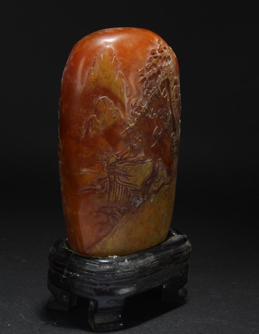 An Estate Chinese Mountain-view Soapstone Figure - 2