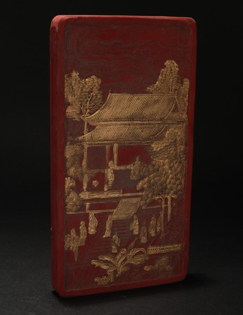 A Chinese Estate Temple-sceen Red Inkstone Display