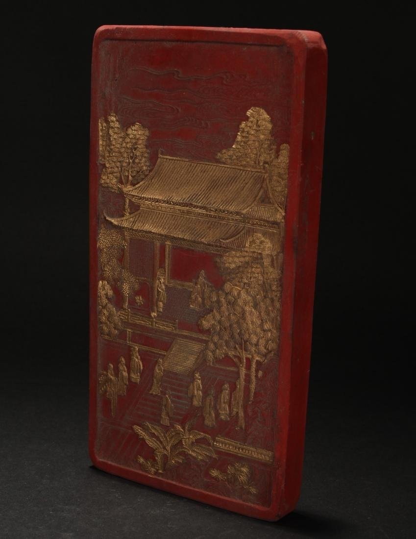 A Chinese Estate Temple-sceen Red Inkstone Display - 2