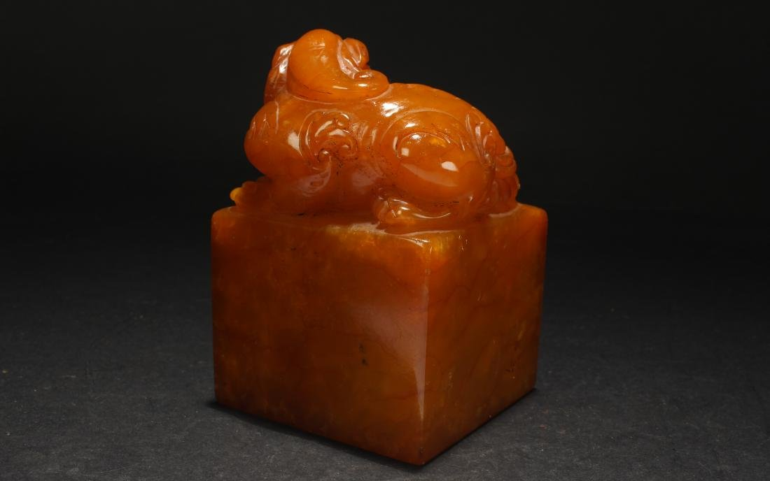 An Estate Chinese Religious Soapstone Display Seal - 2
