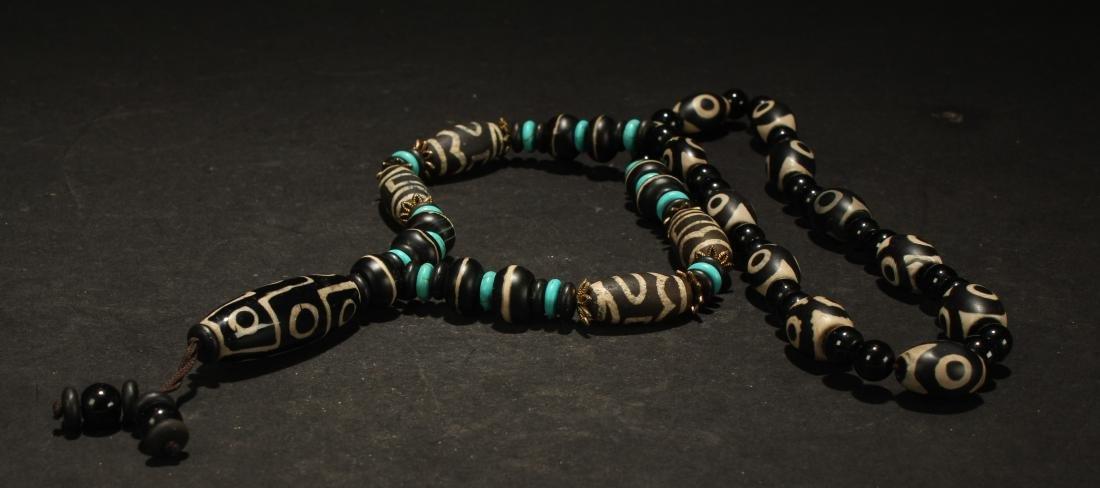 An Estate Tibetan Beaded Necklace Display