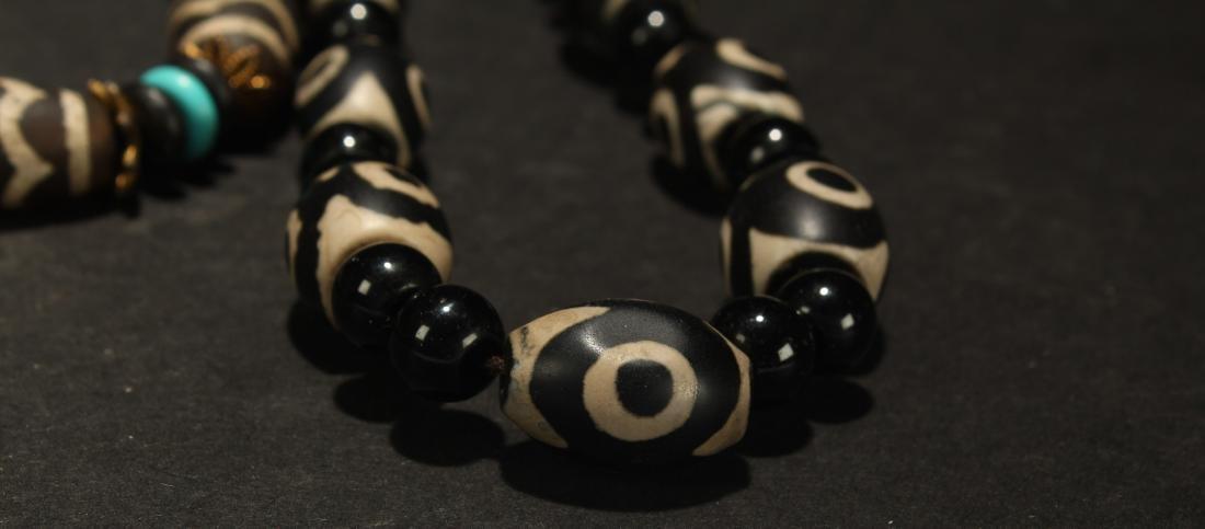 An Estate Tibetan Beaded Necklace Display - 2