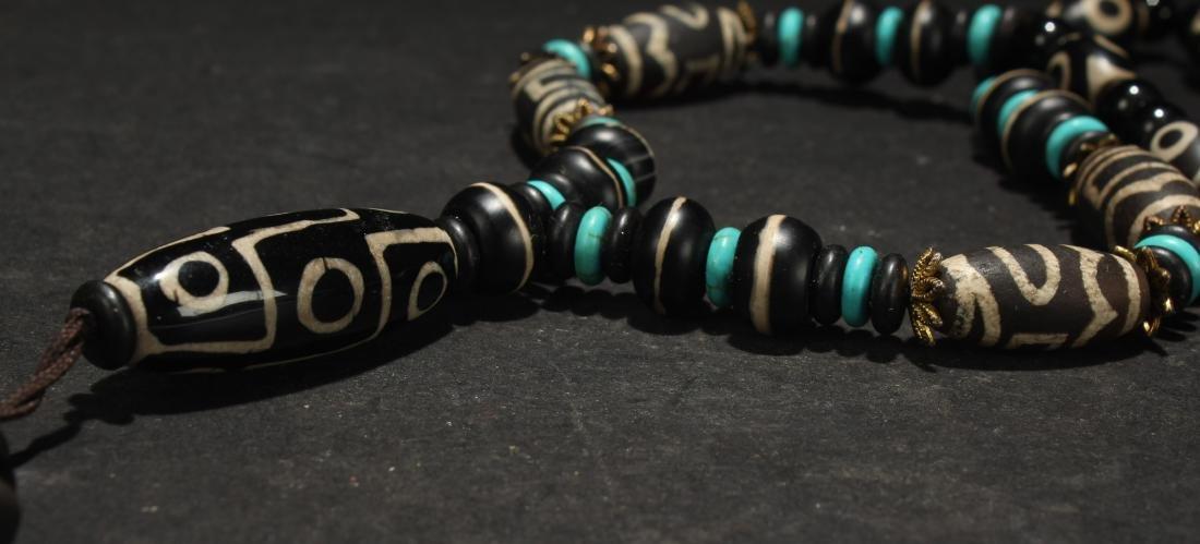 An Estate Tibetan Beaded Necklace Display - 3