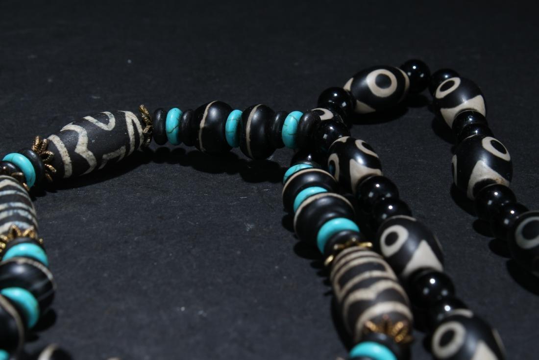 An Estate Tibetan Beaded Necklace Display - 4