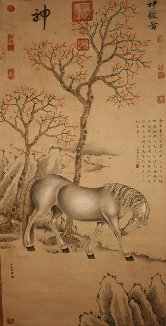 A Chinese Horse-portrait Vivid Scroll Display