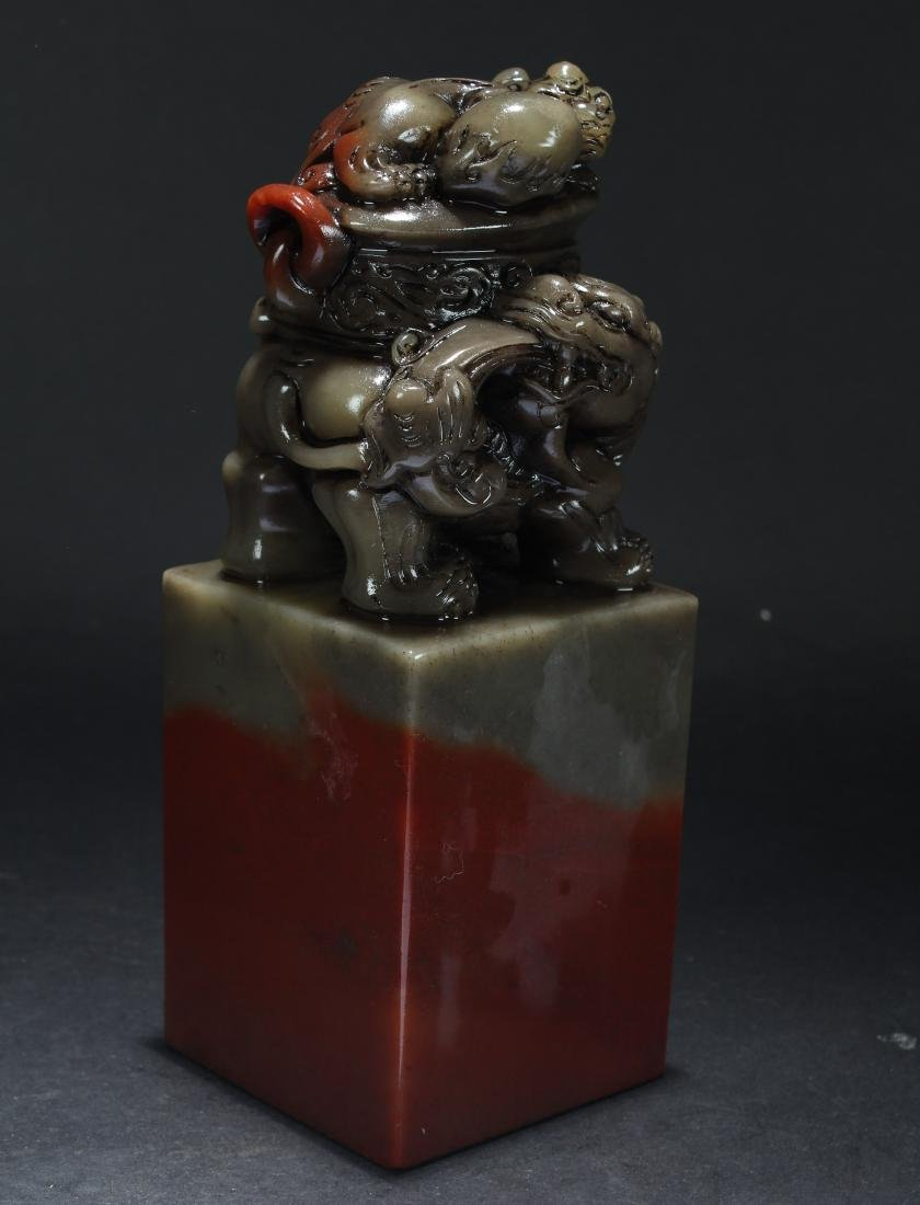 A Chinese Myth-beast Estate Soapstone Religious Seal - 4