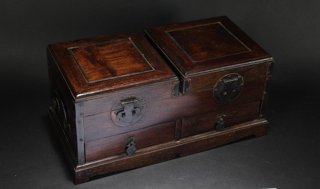 An Estate Chinese Duo-opening Wooden Mirror Box