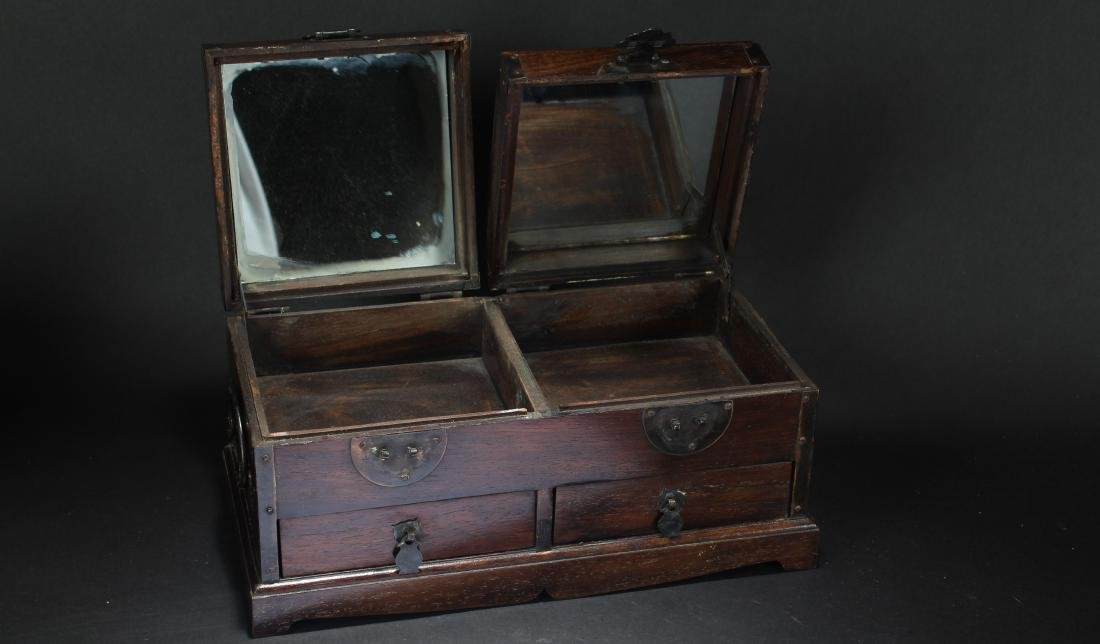 An Estate Chinese Duo-opening Wooden Mirror Box - 3