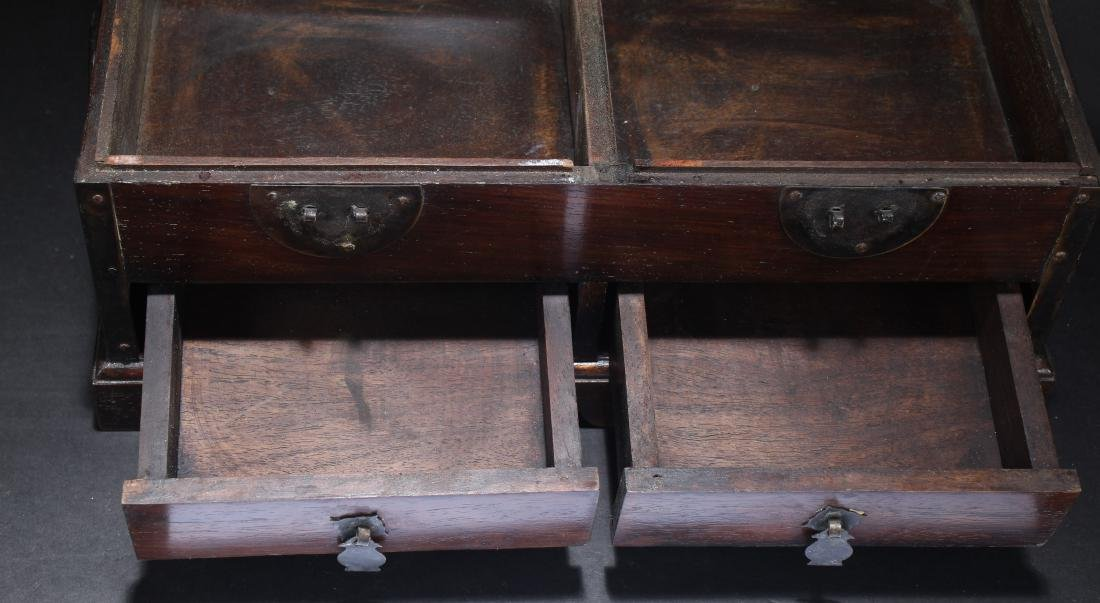 An Estate Chinese Duo-opening Wooden Mirror Box - 4