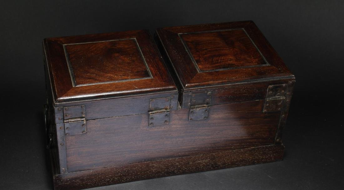 An Estate Chinese Duo-opening Wooden Mirror Box - 5