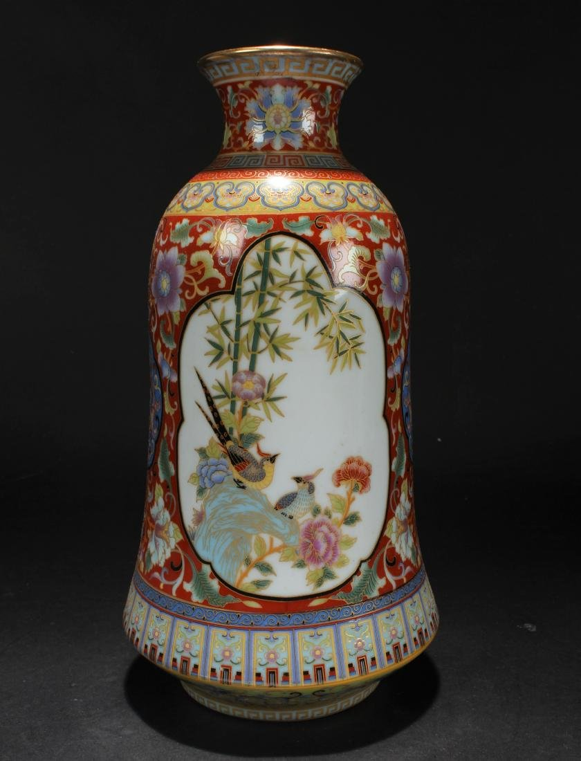 A Chinese Bell-shape Estate Windowed Porcelain Vase