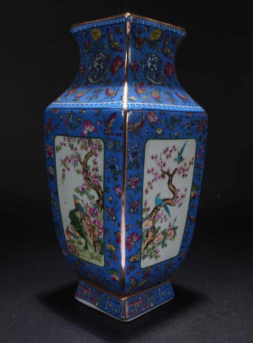 A Chinese Square-based Estate Porcelain Vase Display