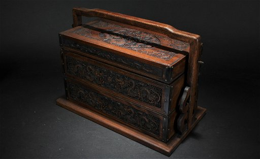 A Chinese High-handled Wooden Fortune Box