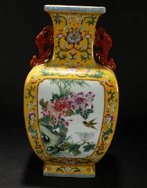 A Chinese Nature-sceen Estate Duo-handled Yellow