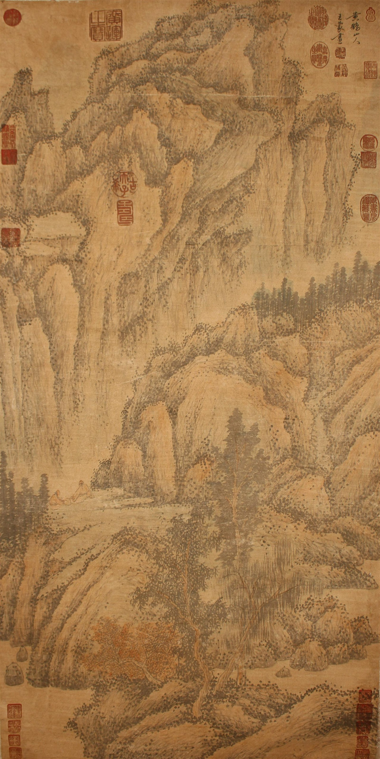 A Chinese AB stract-style Mountain-view Fortune Scroll