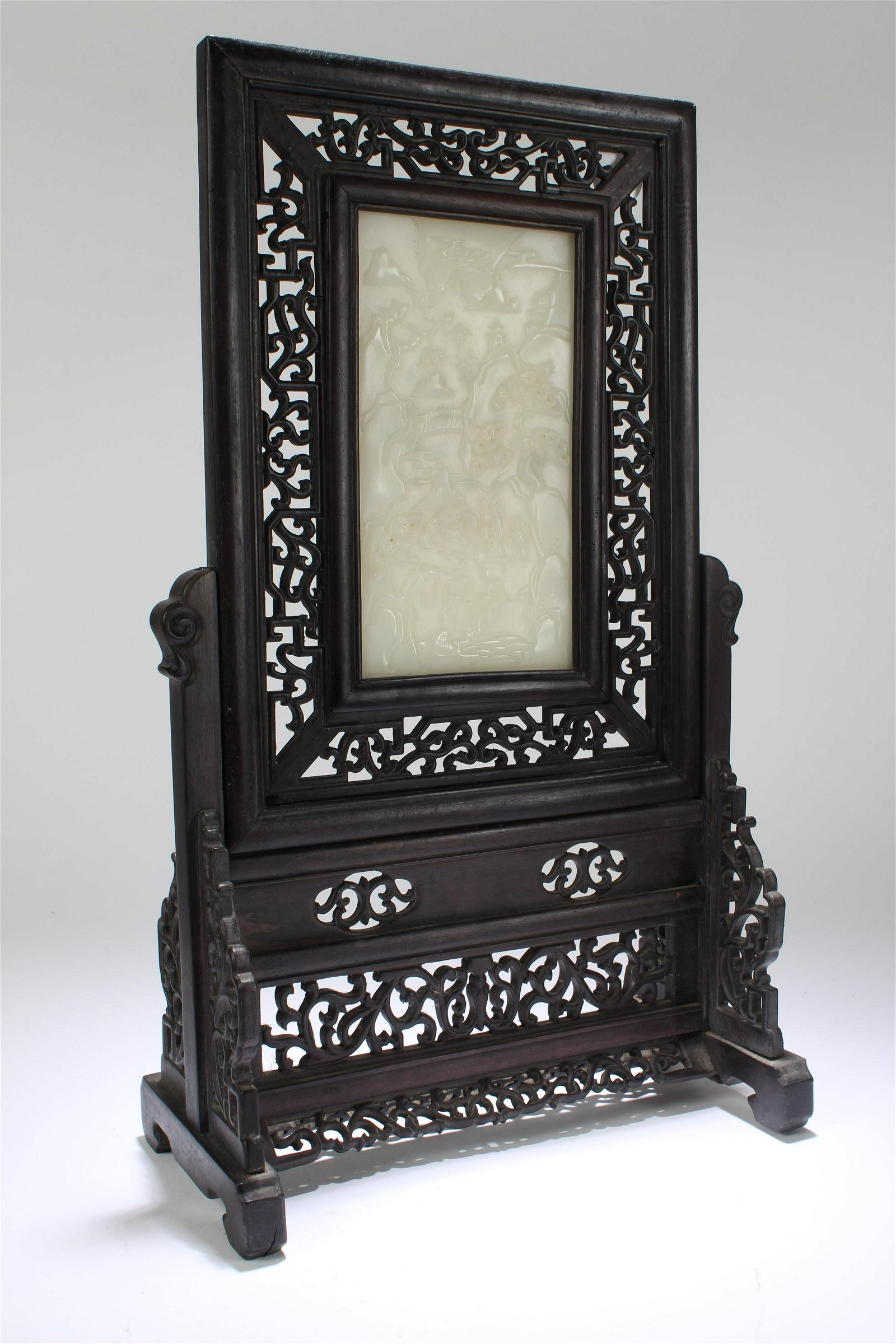 A Chinese Jade-inserted Wooden TAB le Screen