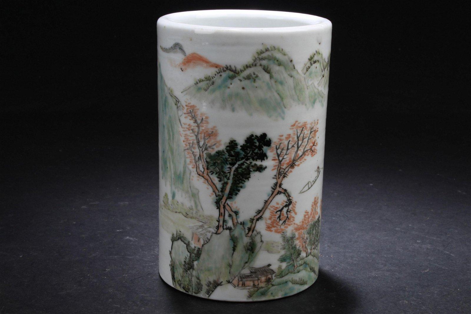 An Estate Chinese Porcelain Brush Pot Display