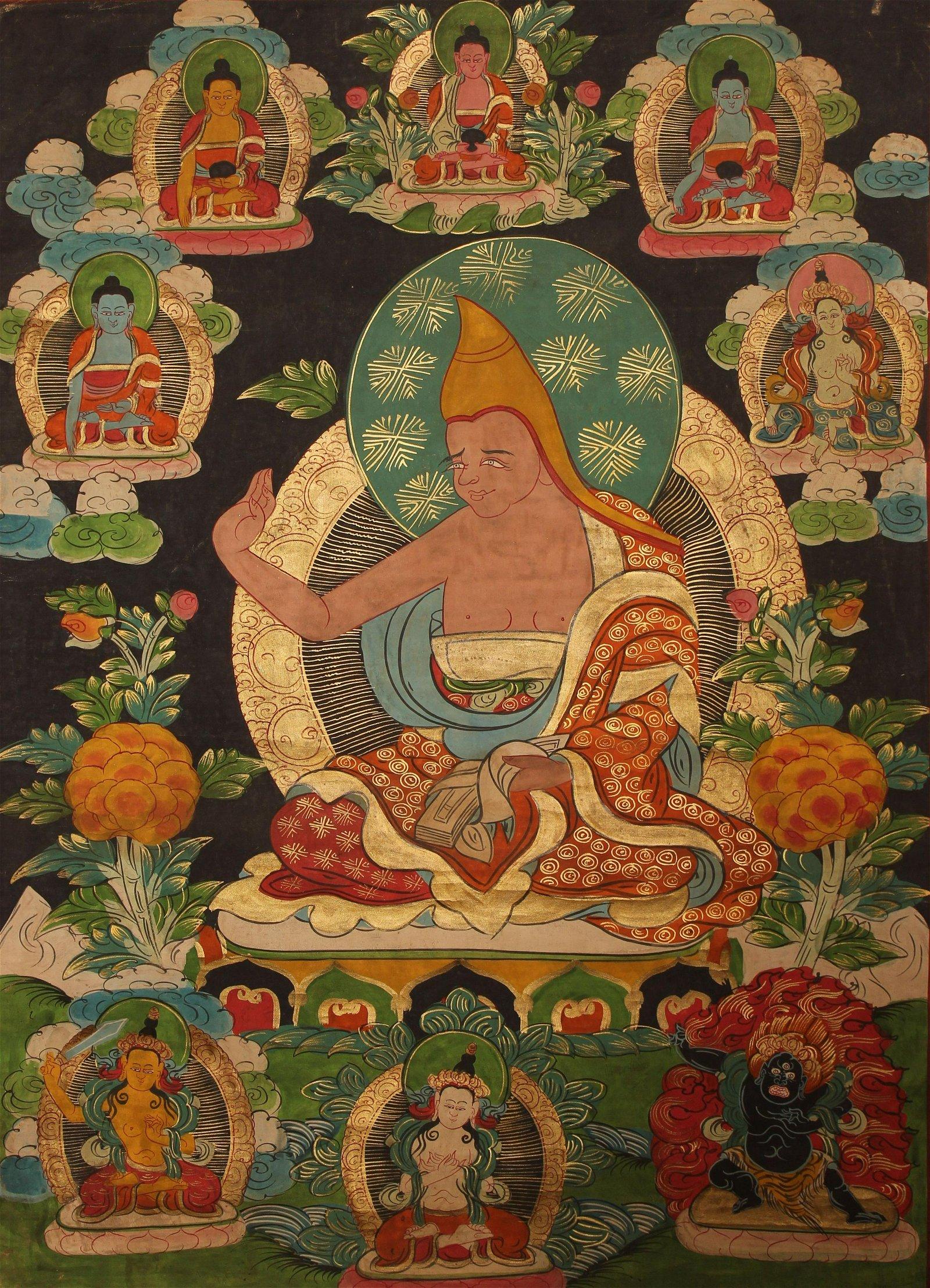 An Estate Tibetan Mulit-buddha Fortune Thangka