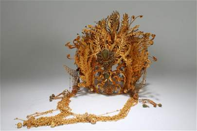 An Estate Chinese Phoenix-fortune Gilt Helm