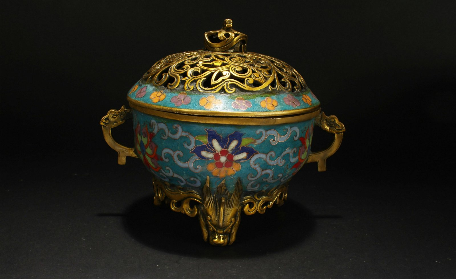 A Chinese Duo-handled Estate Cloisonne Censer Display