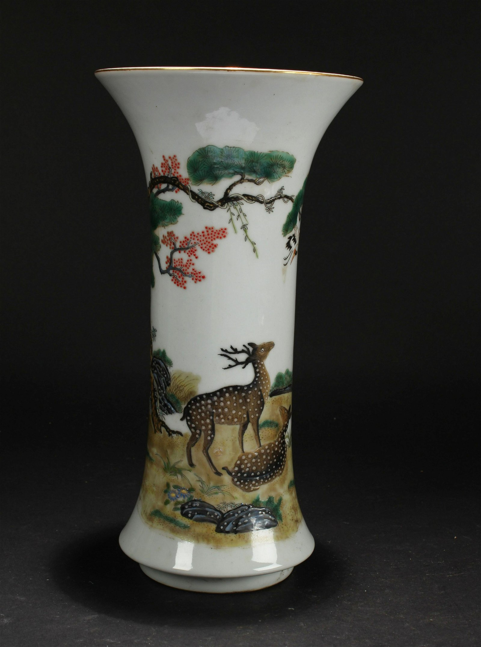 A Deer-fortune Chinese Estate Porcelain Vase Display