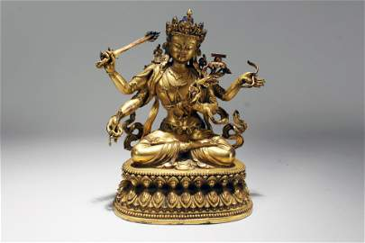 An Estate Chinese Religious Lotus-seated Gilt Statue