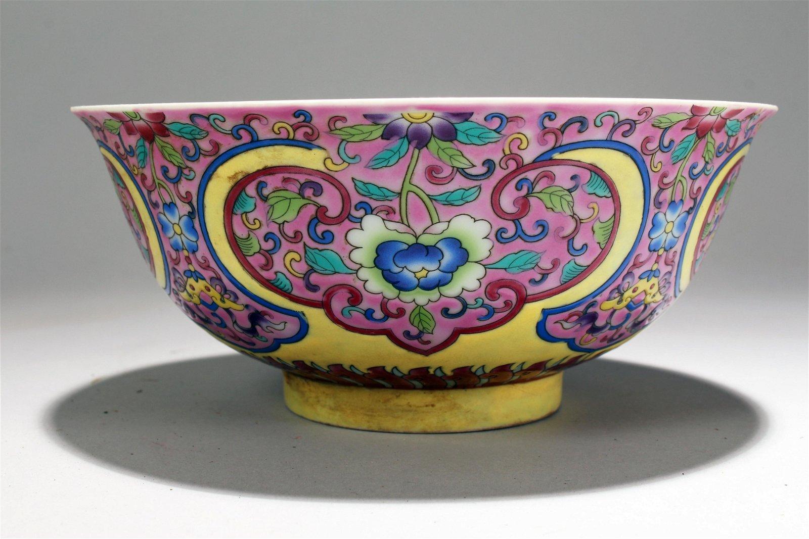 A Chinese Bat-framing Pink-fortune Estate Porcelain