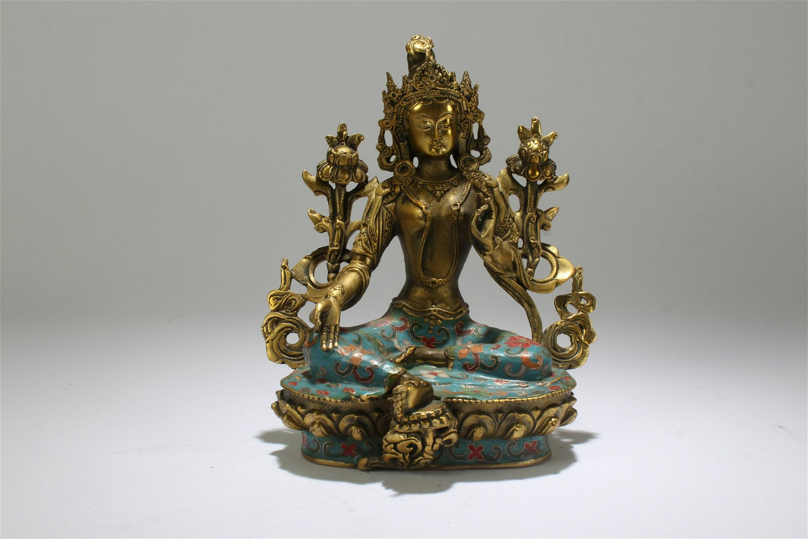 An Estate Chinese Cloisonne Religious Statue Display