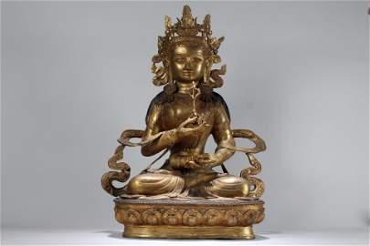 A Chinese Massive Religious Fortune Gilt Buddha Statue