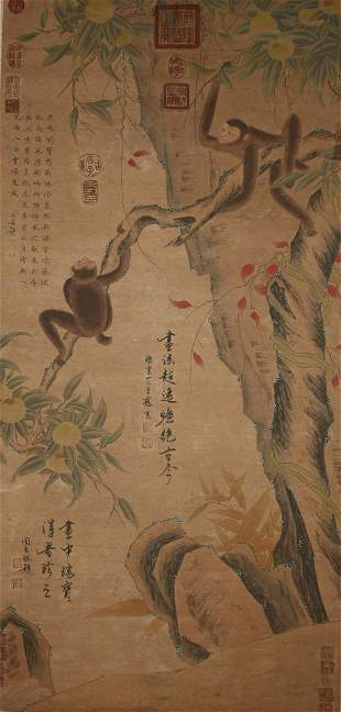 A Chinese Monkey-portrait Nature-sceen Fortune Scroll