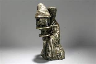 A Chinese Portrait Bronze Vessel Statue