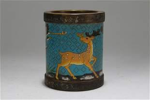 A Chinese Deer-portrait Cloisonne Fortune Pot