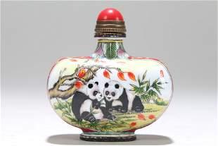 A Chinese Panda-portrait Fortune Snuff Bottle
