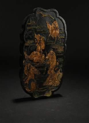 A Chinese 8-elder Inkstone Display