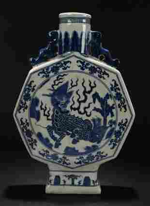 A Chinese Duo-handled Dragon-decorating Porcelain Vase