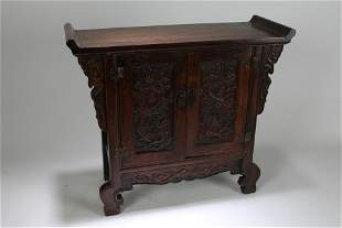 A Chinese Masive Dragon-decorating Wooden Stand