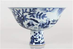 A Chinese Blue and White Joyful-kid Porcelain Cup