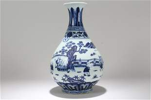 A Chinese Story-telling Blue and White Porcelain Vase