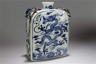 A Chinese Blue and White Dragon-decorating Porcelain