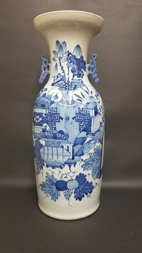 A Massive Tall Chinese Blue And White Vase